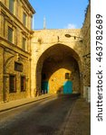 Small photo of View from the inside of the land gate in the walls of the old city of Acre, Israel