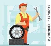 car mechanic in a garage vector ... | Shutterstock .eps vector #463786469