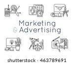 detailed monochrome icons set... | Shutterstock .eps vector #463789691