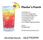 hand drawn watercolor cocktail... | Shutterstock . vector #463790999