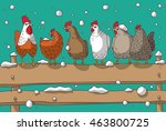 winter group chicken snow and... | Shutterstock .eps vector #463800725