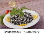 white plate with lemon and wine ... | Shutterstock . vector #463804079