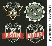 car piston emblem set ... | Shutterstock .eps vector #463808864