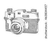 camera freehand sketch | Shutterstock .eps vector #463834457