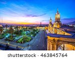 Stock photo night falling on the plaza de armas in the historic center of arequipa peru 463845764