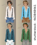 girls with colorful shirts ... | Shutterstock .eps vector #463848461