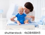 young mother taking care of... | Shutterstock . vector #463848845
