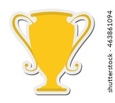 flat design trophy cup icon...
