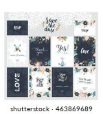 set of save the date cards ... | Shutterstock . vector #463869689
