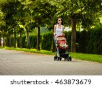 mother with baby carriage   Shutterstock . vector #463873679