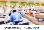 girl use mobile phone  blur... | Shutterstock . vector #463874045