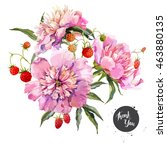 watercolor vector floral... | Shutterstock .eps vector #463880135