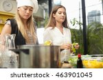 people making food in home and... | Shutterstock . vector #463901045