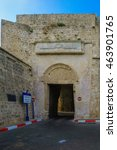 Small photo of ACRE, ISRAEL - AUGUST 03, 2016: View from the outside of the land gate in the walls of the old city of Acre, Israel