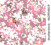 watercolor floral seamless... | Shutterstock . vector #463904819