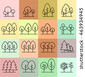 line trees  design set graphic... | Shutterstock .eps vector #463934945