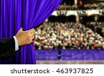 hand opening stage curtain and... | Shutterstock . vector #463937825
