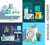 orthogonal hygiene icons 2x2... | Shutterstock .eps vector #463983599