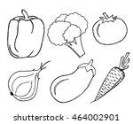 vegetables set on white... | Shutterstock . vector #464002901