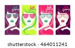 hello summer. a banner set of 4 ... | Shutterstock .eps vector #464011241