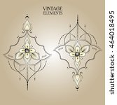 rounded ornament elements.... | Shutterstock .eps vector #464018495