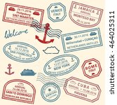 travel stamps vector background ... | Shutterstock .eps vector #464025311