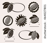 cacao beans label and icons set.... | Shutterstock .eps vector #464027801