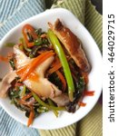 Small photo of Stir fry mushroom with Asian spinach red amaranthus and carrot