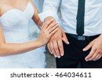 happy bride and groom walking... | Shutterstock . vector #464034611