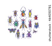 insect set colorful bright | Shutterstock .eps vector #464050781