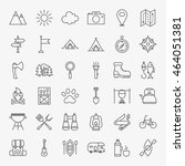 hiking and outdoor line icons... | Shutterstock .eps vector #464051381