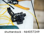 cleaver optic fiber with pliers ... | Shutterstock . vector #464057249