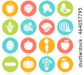 fruits and vegetables. set 1.... | Shutterstock .eps vector #464057795