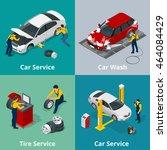 mechanic and car repair. flat... | Shutterstock .eps vector #464084429