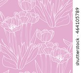 seamless pattern with blooming ... | Shutterstock .eps vector #464105789