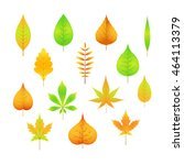autumn leaves on a white... | Shutterstock .eps vector #464113379