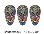 colorful mask make from wood... | Shutterstock . vector #464139104