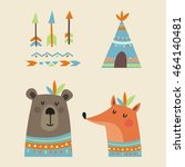 cute pattern with cute bear and ... | Shutterstock .eps vector #464140481