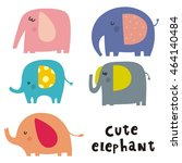 happy elephant vector card | Shutterstock .eps vector #464140484