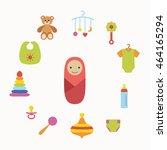 baby icons    rattle  bib ... | Shutterstock . vector #464165294