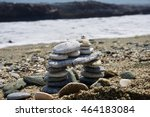 children rock tower on the beach | Shutterstock . vector #464183084