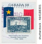 Small photo of ST. PETERSBURG, RUSSIA - AUGUST 2, 2016: A postmark printed in CANADA, Stamp 1930 on new. Museum at Grand Pre and Monument to Evangeline on Acadian Flag, Acadian Deportation 250th anniv., circa 2005
