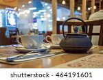 cafe table with tea kettle and... | Shutterstock . vector #464191601