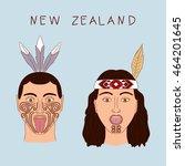 new zealand maori tribe a man... | Shutterstock .eps vector #464201645
