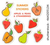 summer set stickers with apples ... | Shutterstock .eps vector #464205134
