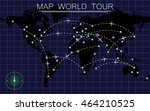 flight routes at night on plane ... | Shutterstock .eps vector #464210525