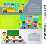 small pupils go to the first... | Shutterstock .eps vector #464211545
