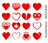 set of red hearts in different... | Shutterstock . vector #46421818