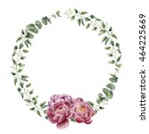 watercolor floral wreath with... | Shutterstock . vector #464225669