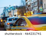 taxi sign on car at evening in... | Shutterstock . vector #464231741